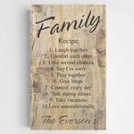Personalized Family Recipe Text Accented Rustic Canvas Sign