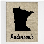 Customized Country Home State Burlap Design Canvas Sign