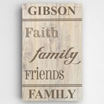 Personalized Rustic Wood Family and Faith Text Accented Canvas Sign