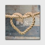 Personalized Knot Graphic Accented Couple Canvas Sign in Blue