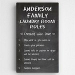 Customized 14 in. x 24 in. Family Laundry Room Rules Canvas