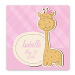 Personalized Baby Giraffe Graphic Canvas Sign for Girls