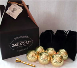 24K Gold Dipped Golf Ball and 24K Tee-Six - These make great corporate gifts!