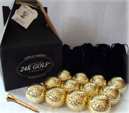 Dozen 24K Gold Dipped Golf Balls and Gold Tone Tees