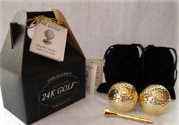 24K Gold Dipped Golf Ball and Gold Tone Tee-Two - Give the gift of gold for any occasion!