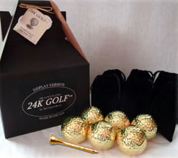 24K Gold Dipped Golf Ball and Gold Tone Tee-Six - Give the gift of gold for any occasion!