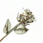 Silver Plated Rose - Open Bud | Silver Dipped Rose | Silver Roses | Anniversary Rose