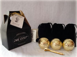 Gold Tone Golf Ball and Tee-Three - These are an ideal addition to any golf collection!