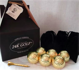Gold Tone Golf Ball and Tee-Six - These are an ideal addition to any golf collection!