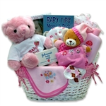 Last Minute Baby Girl Gift Basket- New Baby will be Lovingly Cared for Here!