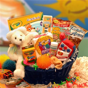 Childrens Activity Gift Basket - Stuffed Bear Bubbles Crayons and More!