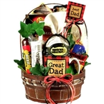 Great Dad! Gift Basket for Fathers Day - A combination of cheese, meats, snacks and sweet treats.