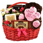 My Funny Valentine Gift Basket - Basket arrives with chocolate treats and an adorable plush puppy dog.