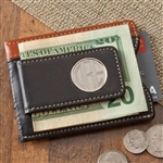 Personalized Leather Two-Toned Magnetic Money Clip Wallet
