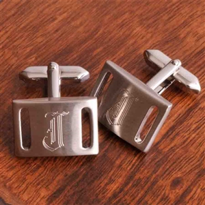 Brushed Silver Slotted Cufflinks