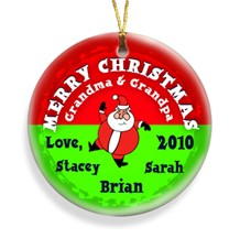 Santa Round Merry Christmas Personalized Ornament - Use these Personalized Holiday Ornaments to decorate packages!