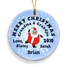 Santa Round Snow Merry Christmas Personalized Ornament - Decorate your tree with personalized ornaments!