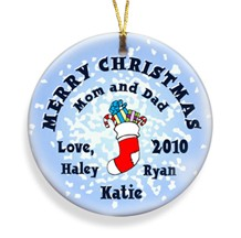 Stocking Snow Merry Christmas Personalized Ornament - Personalized Holiday Ornaments make great stocking stuffers!