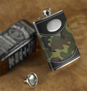 Green Camouflage Flask 8 oz - Personalized - Any hunter will love this flask in their favorite camo!
