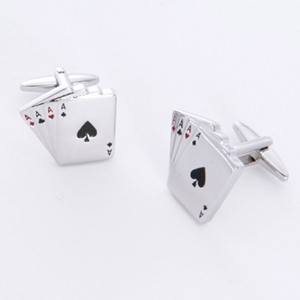 Aces Cufflinks with Personalized Gift Box - Cufflinks to match personalities packed in an elegant personalized chrome box