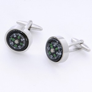 Compass Cufflinks with Personalized Gift Box - Cufflinks to match personalities packed in an elegant personalized chrome box