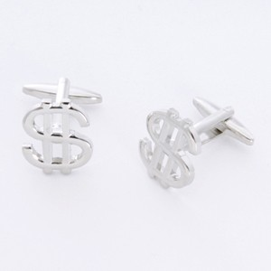 Dollar Signs Cufflinks with Personalized Gift Box - Cufflinks to match personalities packed in an elegant personalized chrome box