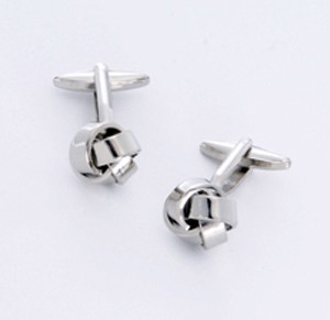 Silver Knot Cufflinks with Personalized Gift Box - Cufflinks to match personalities packed in an elegant personalized chrome box