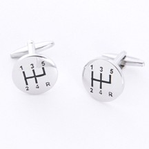 Stick Shift Cufflinks with Personalized Gift Box - Cufflinks to match personalities packed in an elegant personalized chrome box