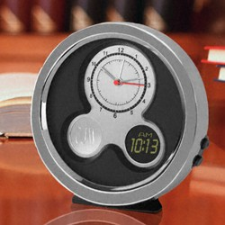 Modern Times Desk Clock Personalized - Features both analog and digital display. Perfect for gift occasion.