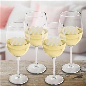 Personalized White Wine Quartet - Personalized in a lower case letter this white wine glass set is ideal for the newly weds or your home bar.