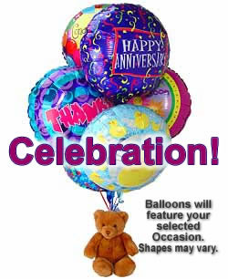Balloons and a teddy bear, bound to leave a special someone beaming! - Half Dozen Mylar Balloons and Teddy - Celebration