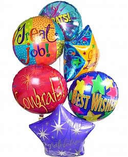 Celebrate any occasion with luminous balloons! - Half Dozen Mylar Balloons - Congratulations