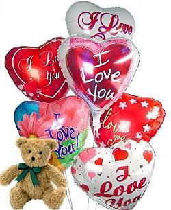 Balloons and a teddy bear, bound to leave a special someone beaming! - Half Dozen Mylar Balloons and Teddy - Love