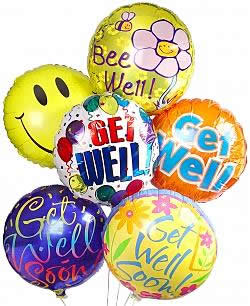 Get Well Balloons are sure to cheer them up! Just what the doctor ordered