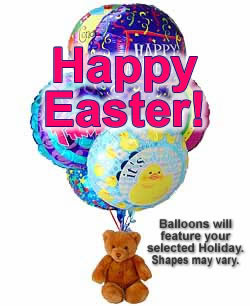 Balloons and a teddy bear, bound to leave a special someone beaming! - Half Dozen Mylar Balloons and Teddy - Easter