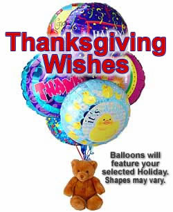 Balloons and a teddy bear, bound to leave a special someone beaming! - Half Dozen Mylar Balloons and Teddy - Thanksgiving