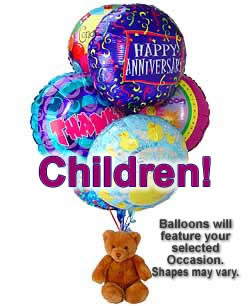 Balloons and a teddy bear, bound to leave a special someone beaming! - Half Dozen Mylar Balloons and Teddy - Children