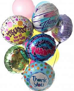 These radiant balloons are a treat for the eyes! - Dozen Mylar and Latex Balloons - Thank You
