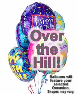 Celebrate any occasion with luminous balloons! - Half Dozen Mylar Balloons - Over the Hill