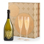 Champagne and Glassware Gift Set with Vintage Krug Brut Champagne