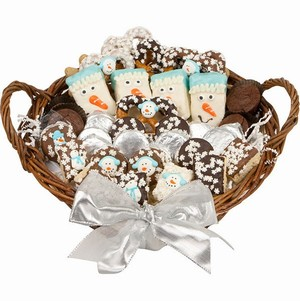 Winter Gourmet Bakery Gift Basket - Filled with Lady Fortunes Chocolate Dipped and other Bakery Treats