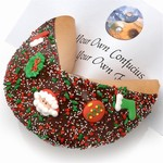 Giant Christmas Fortune Cookie includes your message inside as a 1 ft long fortune. Giant Fortune Cookie is dipped in your choice of toppings and adorned with tasty holiday decorations.