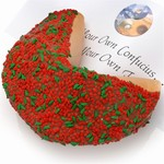 Holly and Berries Giant Fortune Cookie - Includes your message inside as a 1 ft long fortune. Giant Fortune Cookie is dipped in your choice of chocolate toppings and adorned with tasty holiday sprinkles.