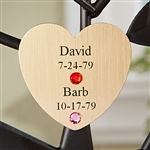 Engraved Family Tree Couple's Gold Heart Charm