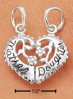 Mother Daughter Split Heart Charm