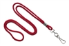 "Round 1/8"" (3 mm) Standard Lanyard W/ Nickel Plated Steel Swivel Hook - 25 Each - Red"