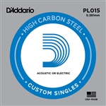 D'Addario Single Plain Steel 015
