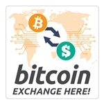 6 x 6 in Bitcoin Exchange Here Decal