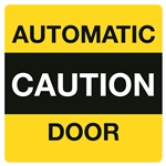 5x5 in Caution Automatic Door Decal Double Sided