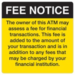 "GetBranded.com-4"" x 4"" Fee Notice Decal, Black and Yellow"